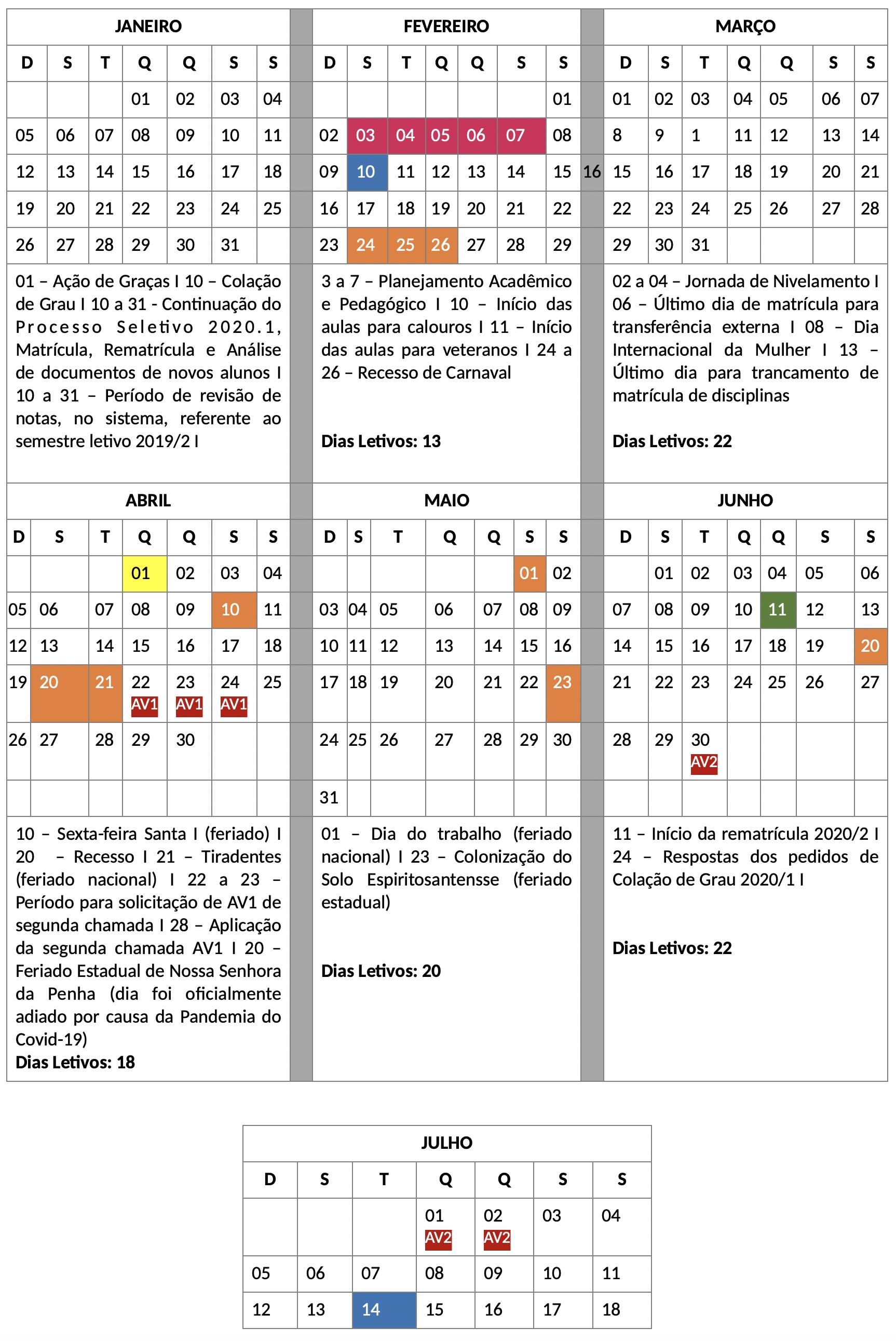 , Calendário